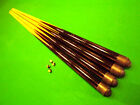 "4 x Wood Pool Tables Cues 36"" Kids/Short/Small,42"",48"" Medium, Large + 8 Tips"