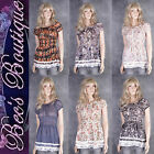 New Sheer Blouse Dress Top Size 10 12 14 16 Lace Trim Diff Colours Prints Ladies