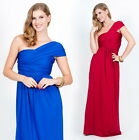 NEW Womens Grecian One Shoulder Cocktail Evening Plus Maxi Dress XS S M L XL