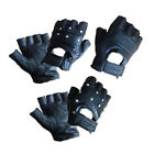 Leather fingerless finger less cowhide cycling motorcycle driving gym gloves