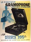 Music Record Player Portable Gramophone French Vintage Poster Repro FREE S/H