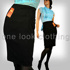 LADIES SEXY FITTED BLACK HIGH WAISTED WIGGLE PENCIL WORK SKIRT 8 10 12 14 16 18