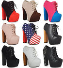 NEW WOMENS LADIES LACE UP CONCEALED PLATFORM HIGH BLOCK HEEL SHOES BOOTS SIZ 3-8