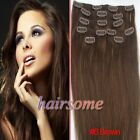 "Free Ship~7/8pcs Clip in Remy Human Hair Extentions #6 Brown 15""18""20""22""  HSME"
