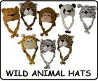 "16"" PLUSH WILD ANIMAL HATS KIDS TEENS LADIES HOOD SOFT HAT WINTER GIRLS BOYS NEW"