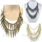 Vintage Punk Rock Womens Multilayer Spike Rivets Fringe Chain Necklace 4 Colors
