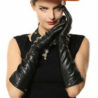 Fashion Lady's eblow long genuine nappa leather driving Gloves Gold Plated Logo
