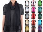 Solid Color Plain Long Scarf Wrap Shawl Soft Classic Fashion Fringe Tassel