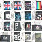 ARMY CROSS UNION JACK RAINBOW GUITAR LEOPARD SKULLS MUSIC DESIGN CHAIN WALLET