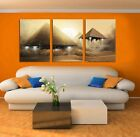 Mysterious Pyramids UFO in desert Modern art On Canvas Print Set Of 3 framed