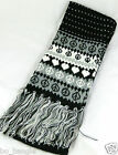 REALLY SOFT SNUGGLY LONG ACRYLIC SCARF WITH TASSLES BLACK BLUE OR PINK