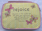 Pale Powder Pink Bible case book cover Organiser Bag Rejoice Silk Screen Design