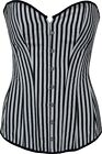 Brand New Ladies Corset Top Dress Long Length Stripes Black White DTS00627