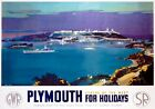 Plymouth for Holidays. GWR/SR Vintage Travel Poster print by Frank Henry Mason