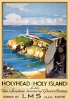 Holyhead, Holy Island Anglesey. LMS Vintage Travel Poster print by Claude Buckle