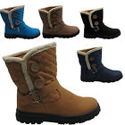 Womens Quilted Fur Lined Double Two Button Fashion Snow Ladies Ankle Boots Uk Sz