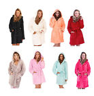 Ladies Supersoft Fleece Hooded Dressing Gown Robe Small - X-Large Range Of Sizes
