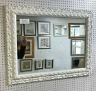 "NEW LARGE 3"" ORNATE WHITE SHABBY CHIC STYLE FRAMED OVERMANTLE WALL MIRROR"