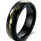 LOTR Lord of Ring Wedding Band Titanium Tungsten Ceramic Gold Black White Silver