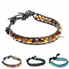 Men's Tiger Eye stones and Crystal disco ball Wrap braclet on BROWN leather