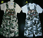 New Boys/Girls camouflage short dungarees & short sleeve t.shirt top outfit set,