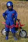 Kids Pit Crew Speed Demon Motorcycle Mechanic Overalls Blue with Red Stripe - T
