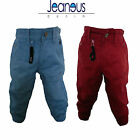 BABIES TODDLERS CHINOS CUFFED JOGGER JEANS RED BLUE 2/3 3/4 5/6 7/8