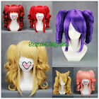 6 colors VOCALOID-teto Curly Cosplay wigs Party Full wig+clip on Ponytail