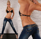 Sexy Women's Clubbing Skinny Slim Jeans Destroyed look Size 6-14