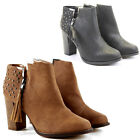 Womens Heeled Booties High Heels Block Shoes Ankle Boots Size