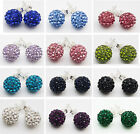 925 Silver 10mm Shamballa Style Crystal disco Ball Stud Earrings Quality Crystal