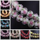 15PCS Pretty Lampwork Glass  Flower Faced Spcer Oblate Bead For Jewelry