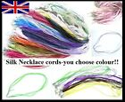 5 x SILK & COTTON NECKLACE CORDS 18MM - YOU CHOOSE COLOUR!!! 1ST CLASS POSTAGE!