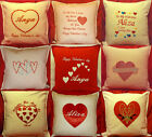 Personalised Embroidered Appliqued love hearts Valentine day gift Cushion Cover