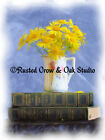 Daisy Flowers on Books Still life Original Handmade Signed Matted Picture A327