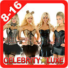 New Ladies Burlesque Corset Rockabilly Moulin Rouge Fancy Dress Costume Bustier