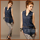 New Fashion Vintage OL Style Slender Lapel Blouse Top With Belt