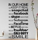 Large Modern In This House Rules Facebook Wall Art Sticker Decal Vinyl Transfer