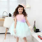 Flower Girl Kid Birthday Dance Party Pageant Recital Skirt Skyblue Pink  Dress