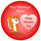 Personalised Valentine's Day Cute Squirrel Cupcake Edible Wafer Cake Toppers