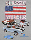 Chevy Classic Muscle T-Shirt Gray Camaro Corvette Chevelle American Flag BABA