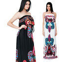NEW Womens Strapless Paisley Cocktail Evening Plus Size Maxi Dress S M L XL 2X