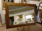 "NEW LARGE 4"" SHAPED MEDIUM OAK STAINED SOLID OAK FRAMED OVERMANTLE WALL MIRRORS"