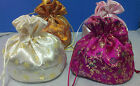 Jewelry Accessories Floral Satin Flat Bottom Gift Bags Pouch Wedding Favors