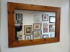 NEW LARGE CHUNKY MEDIUM OAK STAINED SOLID PINE OVERMANTLE WALL MIRRORS