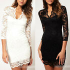Women Sexy Lace Dress 3/4 Sleeve Slash Neck Bodycon Cocktail Evening Dress new