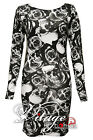 Womens Celebrity Floral Rose Skull Print Party Tunic Dress Bodycon Dress 8-22