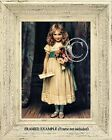 Victorian GIRL w/ LOVE LETTER INVITATION  and ROSES Bouquet Antique ART PRINT