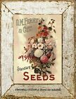 Victorian FLOWER SEEDS ADVERTISEMENT D.M. Ferry Garden Floral Antique ART PRINT