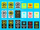 3 x sets of Wheelie Bin/Dustbin numbers & road name & background stickers decal